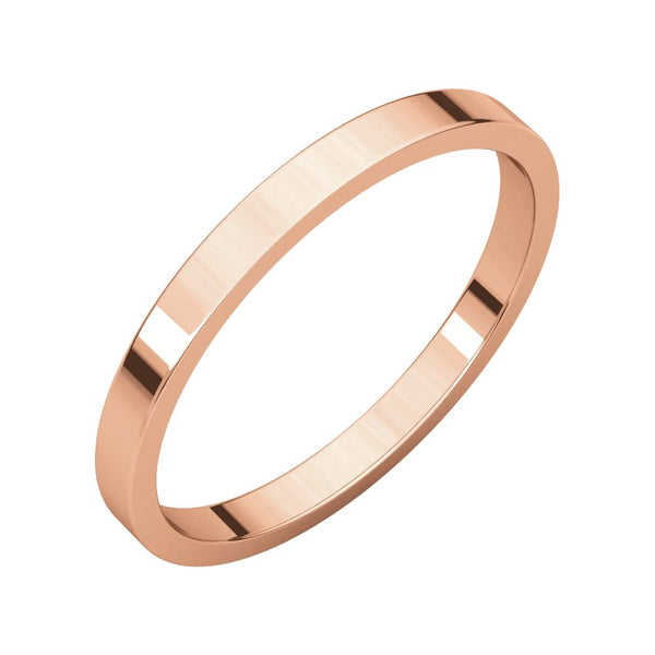 10k Rose Gold 2mm Flat Band, Size 4