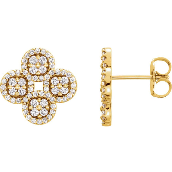 14k Yellow Gold 1/2 CTW Diamond Clover Earrings