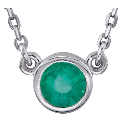 "Sterling Silver Emerald Bezel 16"" Necklace"