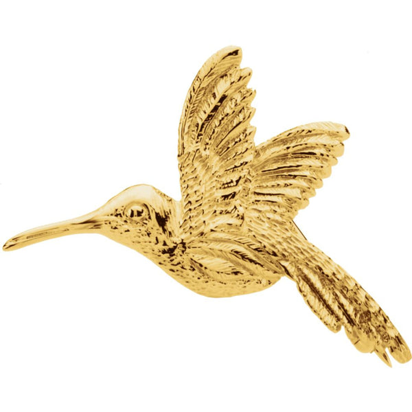 14k Yellow Gold 27x25mm Hummingbird Brooch