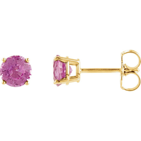 14k Yellow Gold 5mm Round Pink Tourmaline Earrings