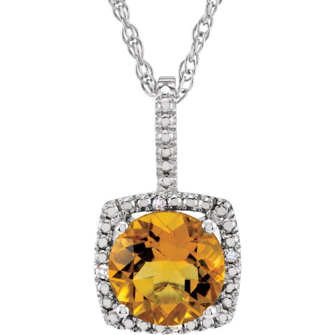 "Sterling Silver 7mm Citrine & .015 CTW Diamond 18"" Necklace"