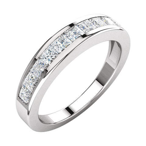 1 CTTW Princess-Cut Diamond Anniversary Band in 14k White Gold (Size 8 )