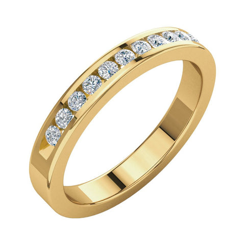 14k Yellow Gold 1/4 CTW Diamond Classic Channel Set Anniversary Band, Size 8