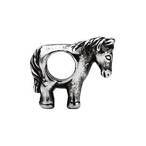 Sterling Silver 13.5x11mm Horse Slider Bead