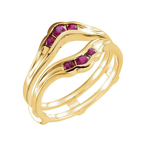Genuine Ruby Solitaire Enhancer in 14k Yellow Gold, Size 7