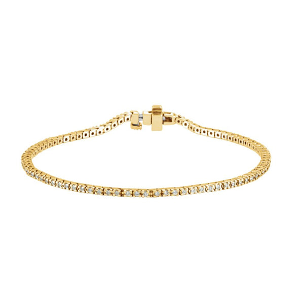 "14k Yellow Gold 1 CTW Diamond Line 7.25"" Bracelet"
