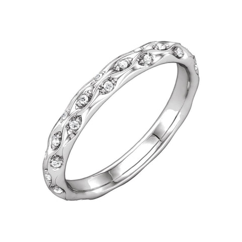 14K White Gold 1/5 CTW Diamond Sculptural Eternity Band Size 7
