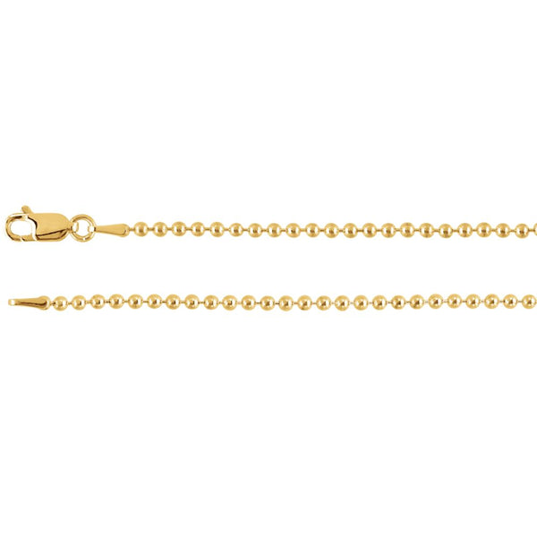 "14k Yellow Gold 2mm Bead 20"" Chain"