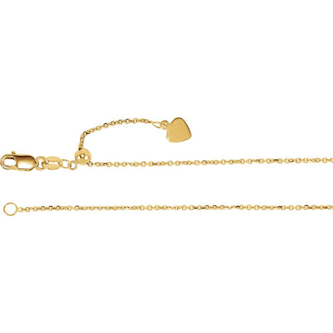 "14k Yellow Gold 1mm Adjustable Cable 22"" Chain"