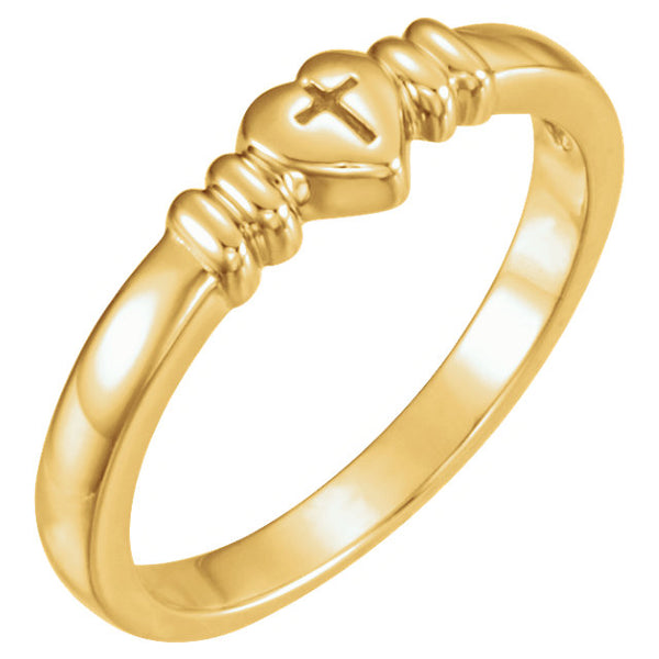 14k Yellow Gold Heart with Cross Chastity Ring Size 7