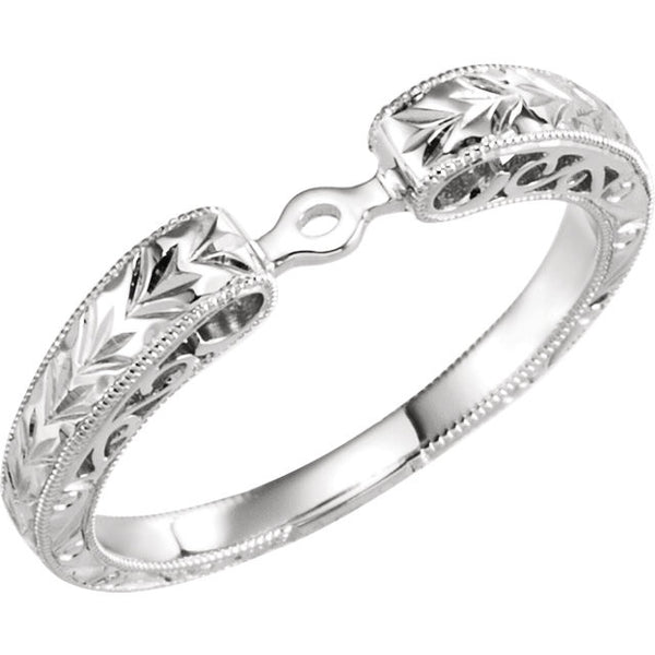 14k White Gold Hand Engraved Engagement Base Size 7