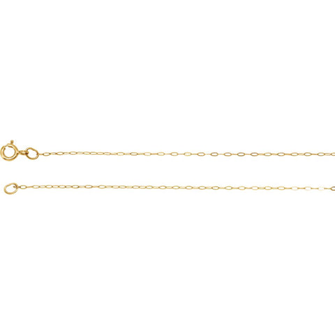 "14k Yellow Gold .50mm Solid Cable 18"" Chain"
