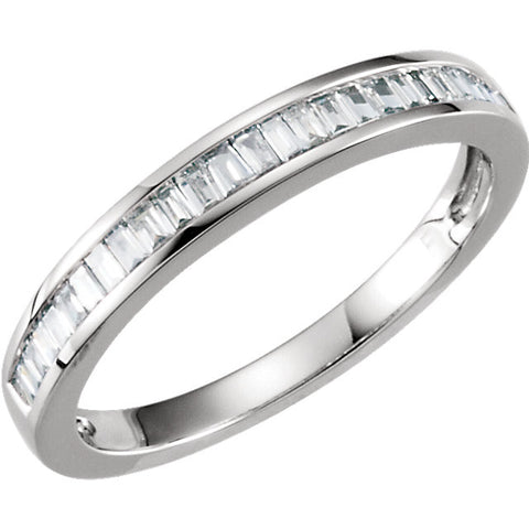 1/4 CTTW Baguette Diamond Anniversary Band in 14k White Gold (Size 5 )