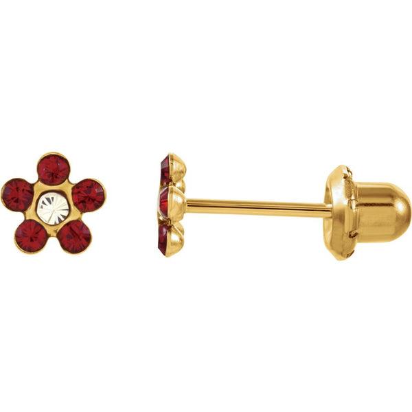 "14k Yellow Gold Imitation ""July"" Youth Birthstone Flower Inverness Piercing Earrings"