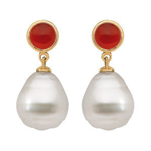 Elegant and Stylish Pair of 06.00 MM and 11.00 MM South Sea Cultured Pearl & Genuine Carnelian Earrings in 14K White Gold, 100% Satisfaction Guaranteed.
