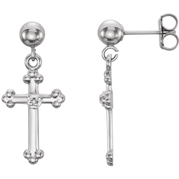 14k White Gold 14x9mm Diamond Cross Dangle Earrings