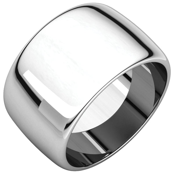 Sterling Silver 12mm Half Round Band, Size 8.5