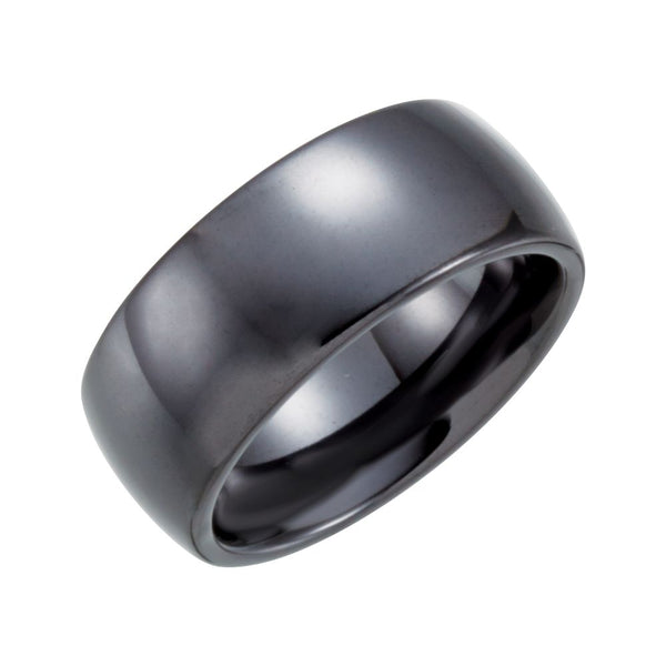 Black Ceramic 8mm Domed Band Size 6
