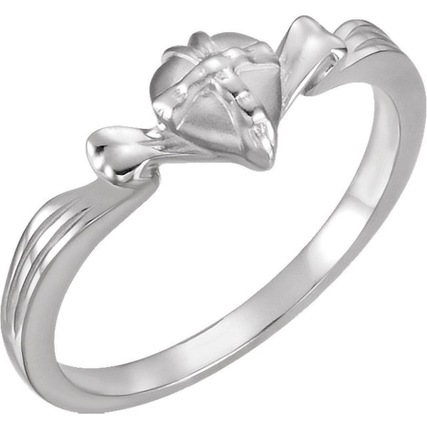 14k White Gold The Gift Wrapped Heart® Ring Size 8