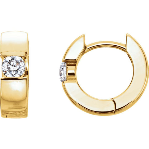 14k Yellow Gold 1/5 ctw. Diamond Hinged Hoop Earrings