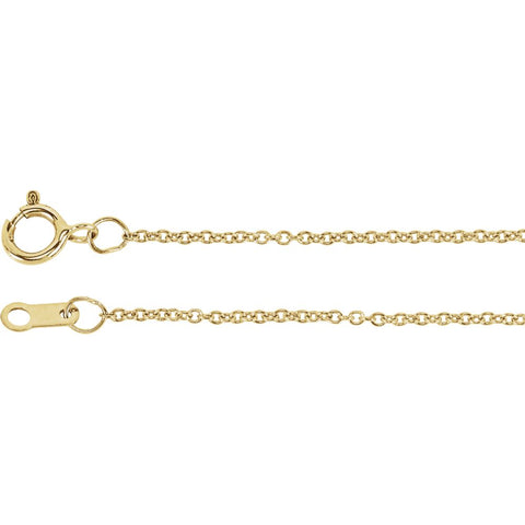 "18k Yellow Gold 1mm Solid Cable 20"" Chain"