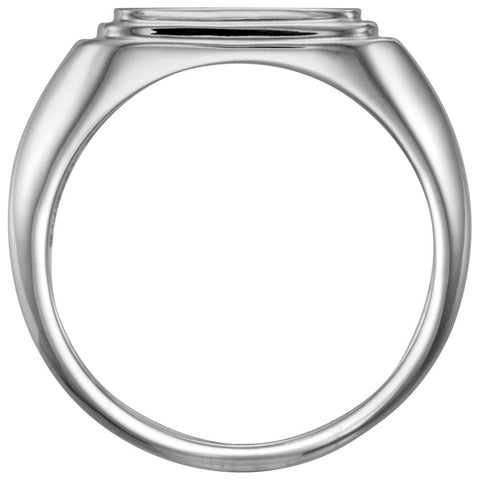 Sterling Silver Posh Mommy® Men's Square Signet Ring, Size 11