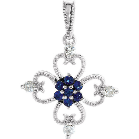 1/10 CTTW Blue Sapphire and Diamond Fashion Pendant in Sterling Silver