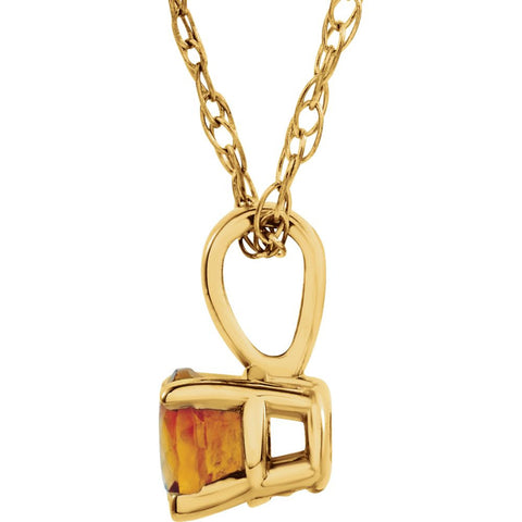 "14k Yellow Gold Imitation Citrine ""November"" Birthstone 14"" Necklace"