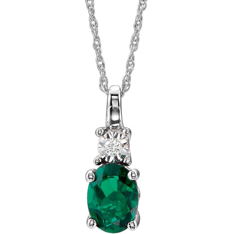 14k White Gold Created Emerald & .02 CTW Diamond Necklace