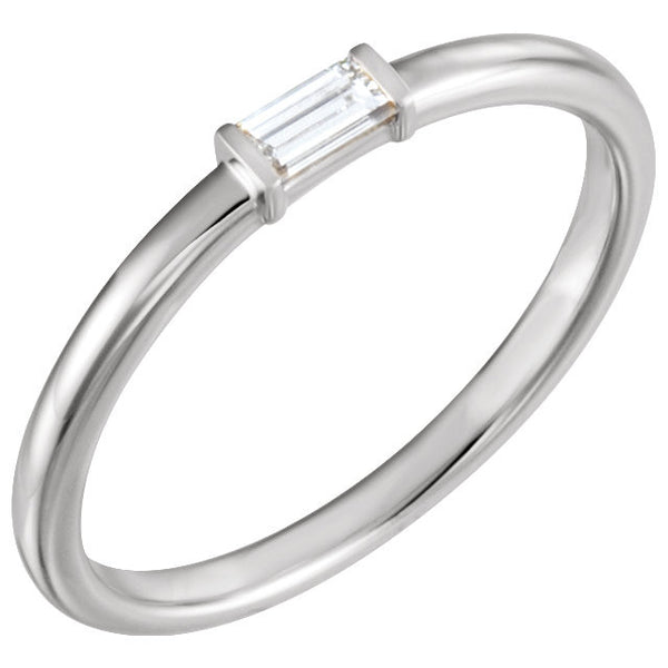 Sterling Silver 1/8 CTW Diamond Stackable Ring, Size 7
