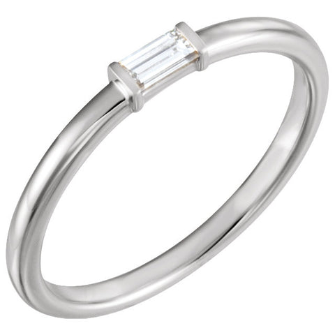 Sterling Silver 1/8 ctw. Diamond Stackable Ring, Size 7