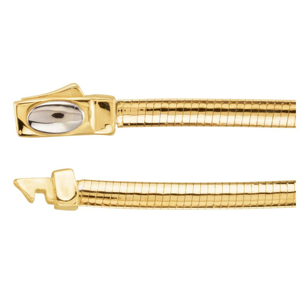 "14K Yellow & White 3mm Two-Tone Reversible Omega 16"" Chain"