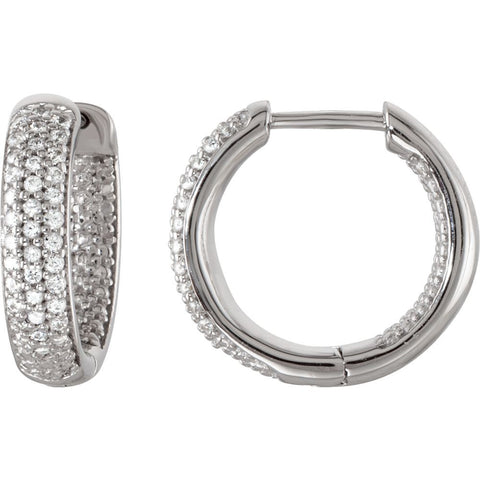 Pair of Cubic Zirconia Hinged Inside/Outside Hoop Earrings in Sterling Silver