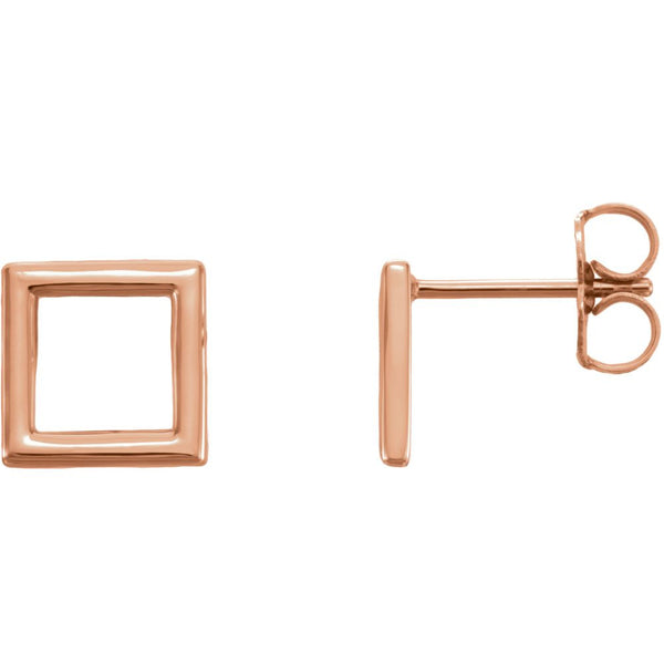 14k Rose Gold Square Earrings