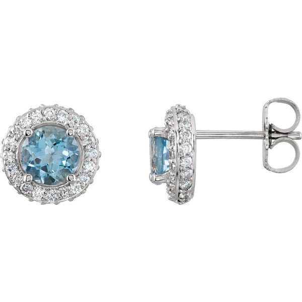 14k White Gold Aquamarine & 3/8 CTW Diamond Earrings