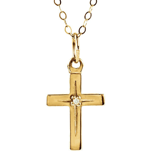 14K Yellow Gold Diamond Cross 15-Inch Necklace