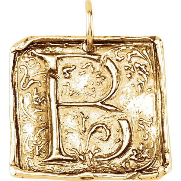 "14k Yellow Gold Initial ""B"" Vintage-Style Pendant"