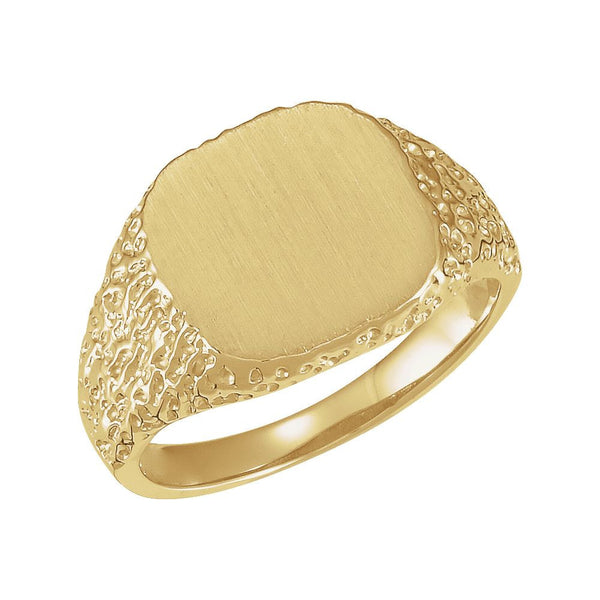 14k Yellow Gold 13mm Signet Ring, Size 10