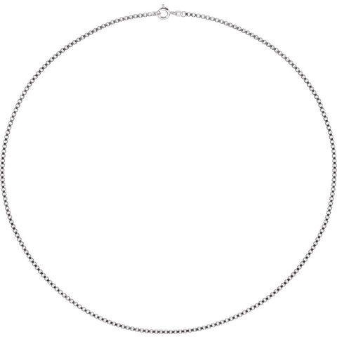 "Sterling Silver 2mm Box 18"" Chain with Spring Ring Clasp"