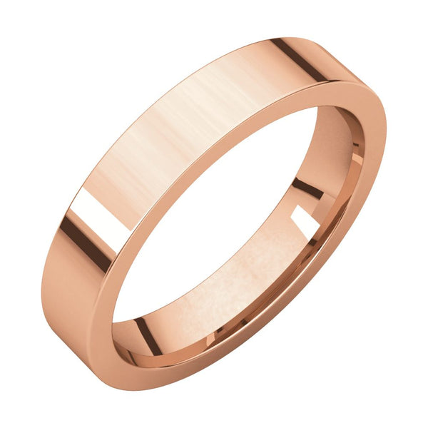 10k Rose Gold 4mm Flat Comfort-Fit Wedding Band, Size 6