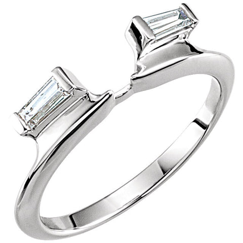14k White Gold 1/8 CTW Diamond Baguette Wrap-Style Ring Enhancer, Size 7