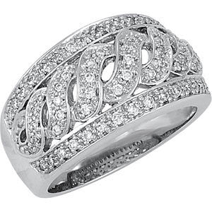 1/2 CTTW S-Design Diamond Wedding Band Ring in 14k White Gold (Size 6 )