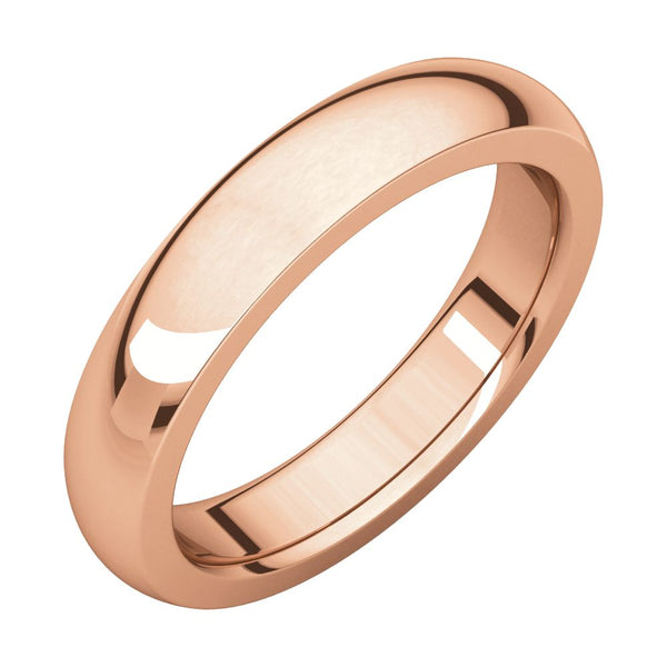10k Rose Gold 4mm Heavy Comfort Fit Band, Size 8