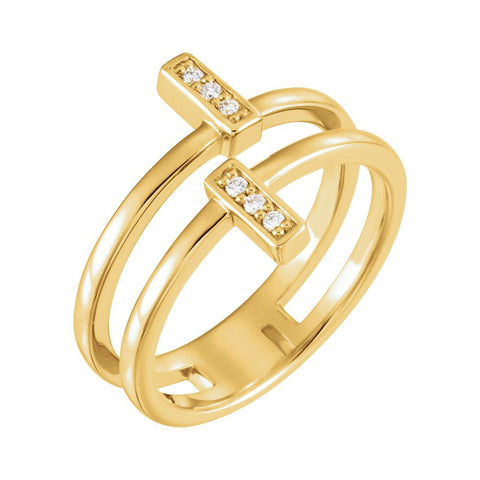 14k Yellow Gold .06 CTW Diamond Bar Ring, Size 7