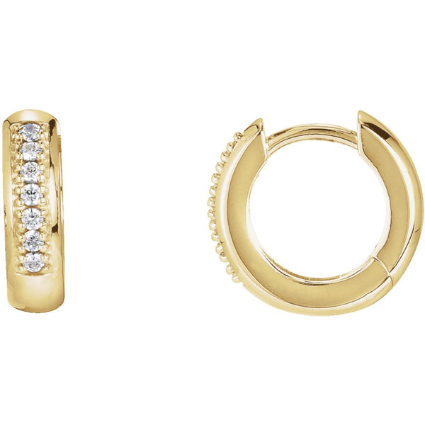 14k Yellow Gold 1/6 CTW Diamond Hoop Earrings