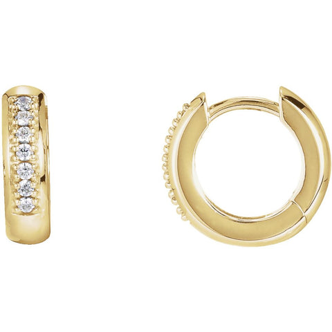 14k Yellow Gold 1/6 ctw. Diamond Hoop Earrings
