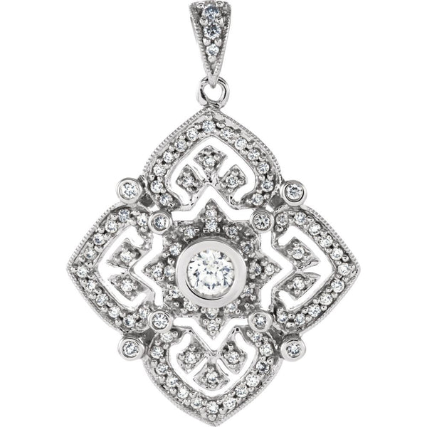 14k White Gold 1/2 CTW Diamond Fashion Pendant
