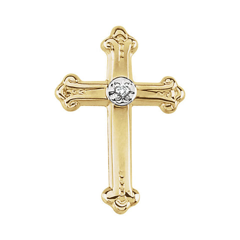 15.00x10.50 mm Cross Lapel Pin with Diamond in 14K Yellow Gold