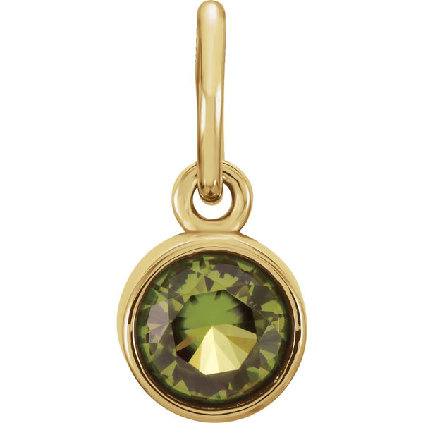 14k Yellow Gold Imitation Peridot Birthstone Charm